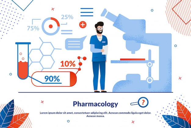 Pharmacology science flat banner template Premium Vector