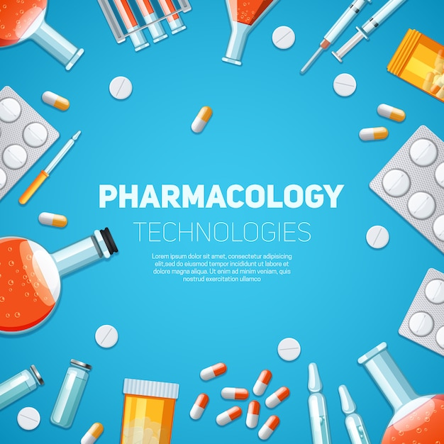 Pharmacology technologies background Free Vector