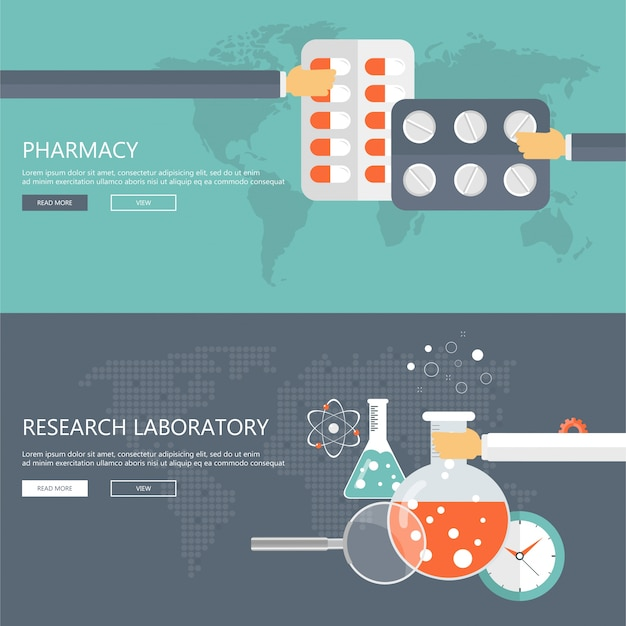 Pharmacy and research laboratory banners Free Vector