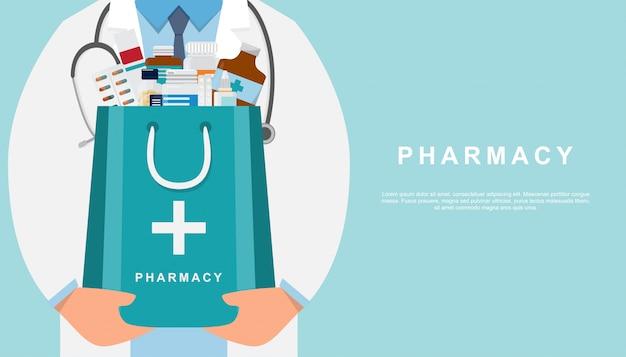 Аптека фон с врачом, держа аптечку Premium векторы