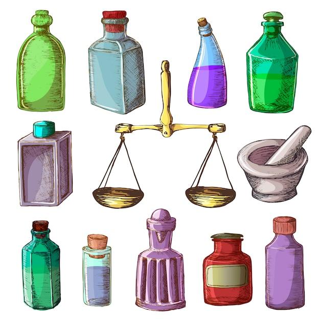 薬局瓶ヴィンテージ医療ガラス古い薬容器薬液薬とスケールイラスト製薬化学セット白い背景で隔離 Premiumベクター