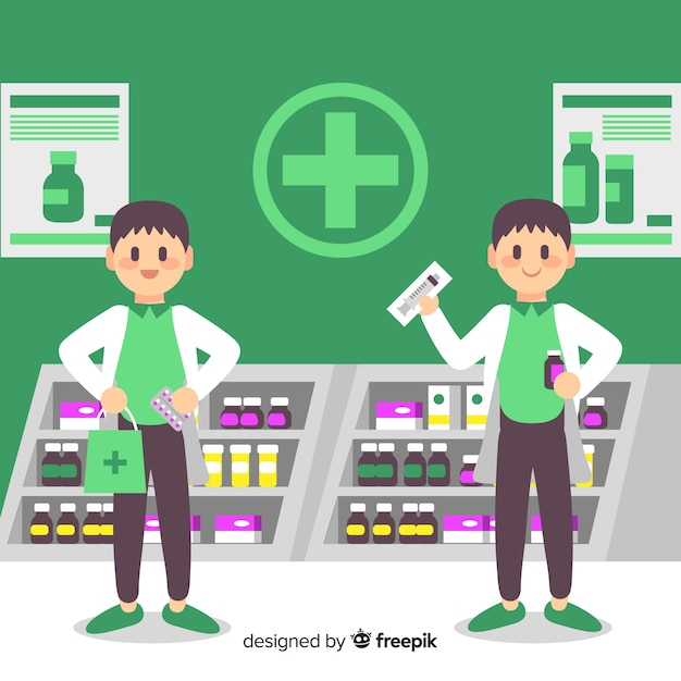 Pharmacy concept background flat style Free Vector
