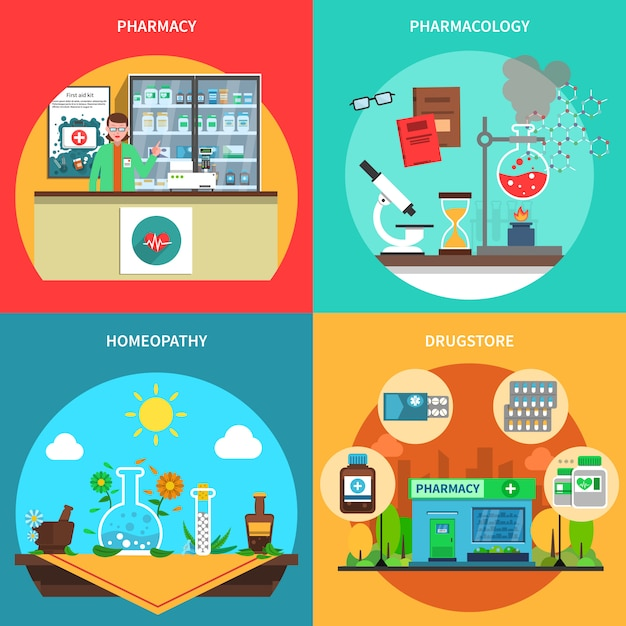 Pharmacy concept set Free Vector