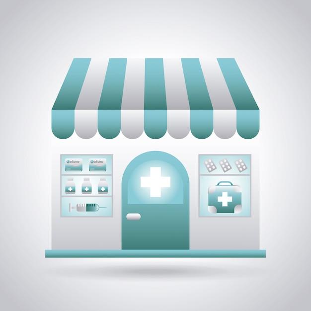 Pharmacy design over gray background vector illustration Premium Vector