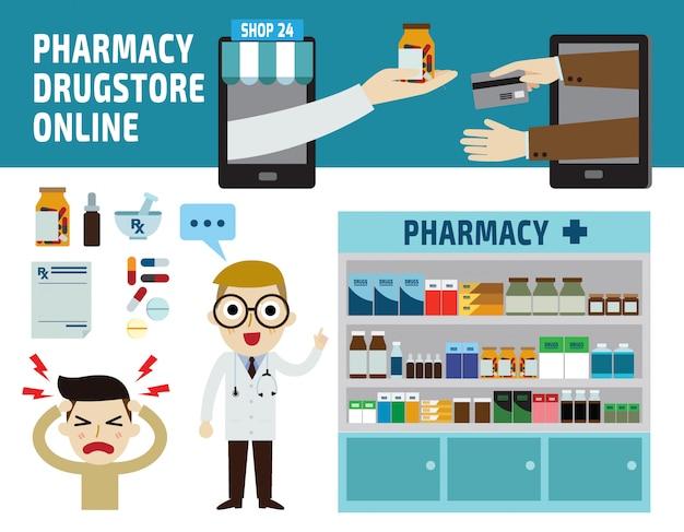 Pharmacy drugstore infographic vector illustration Premium Vector
