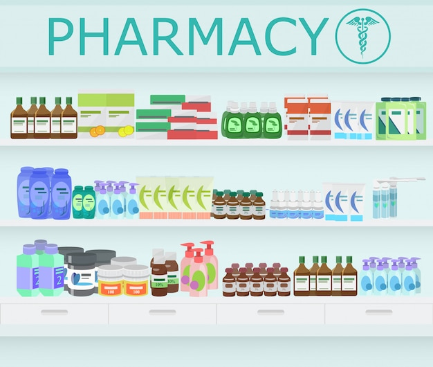 Pharmacy drugstore interior. Premium Vector