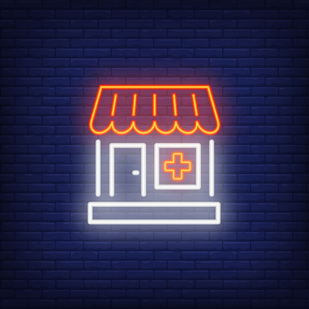 Pharmacy drugstore neon sign Free Vector