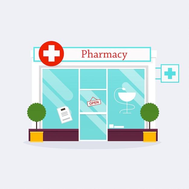 Аптека аптека фасад магазина. плоский стиль Premium векторы