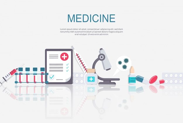 Pharmacy Frame With Pills Drugs Medical Bottles Drugstore Flat Illustration Medicine And Healthcare Banner Poster Background With Copy Space Premium Vector