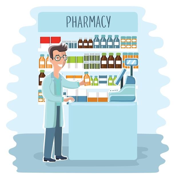 Инфографические элементы аптеки. женщина-фармацевт показывает лекарства на витрине. набор иконок аптеки. Premium векторы