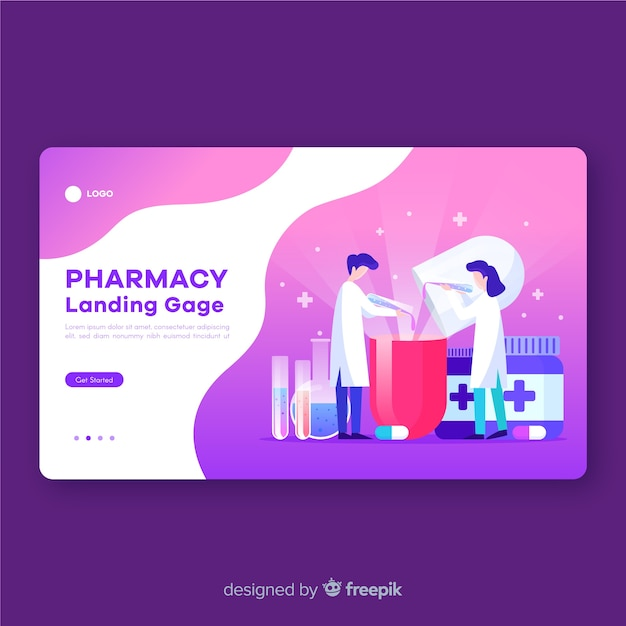 Pharmacy landing page flat design Free Vector
