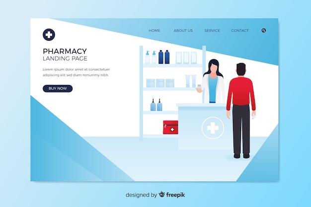 Pharmacy landing page flat design Free Vector