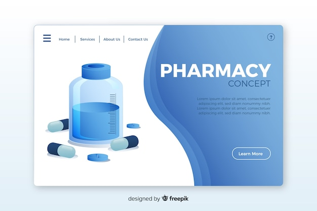 Pharmacy landing page Free Vector