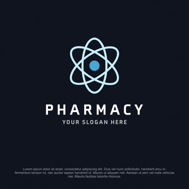 pharmacy logo with a atom vector free download