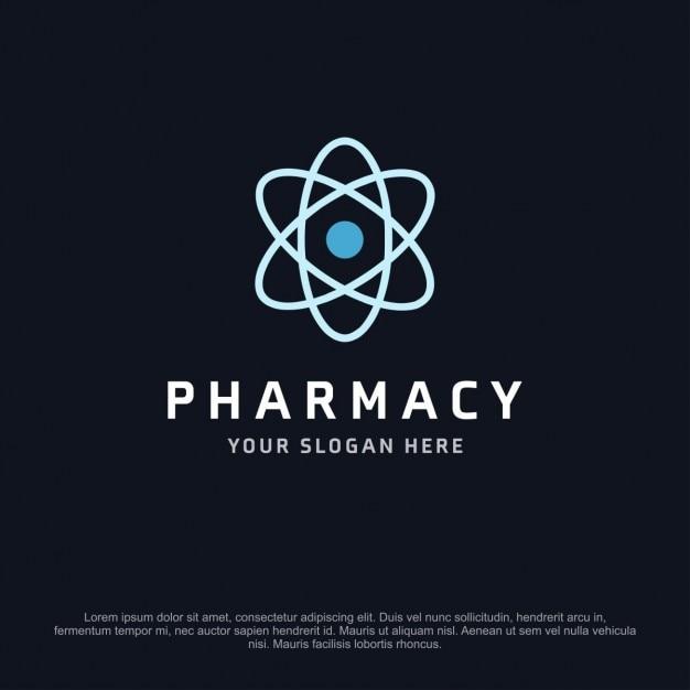 Pharmacy logo with a atom Free Vector