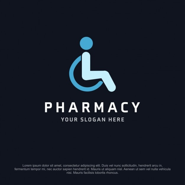 Pharmacy logo with a person in a wheelchair Free Vector