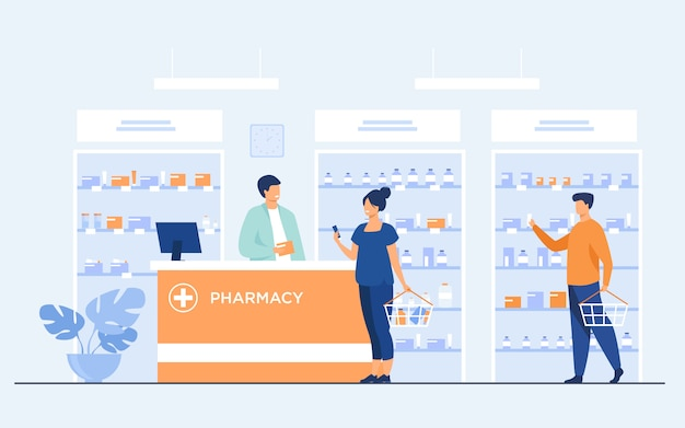 Pharmacy or medical shop concept Free Vector