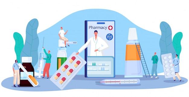 Концепция лекарства аптека, онлайн аптека консультации и рецепт таблетки, люди иллюстрация Premium векторы