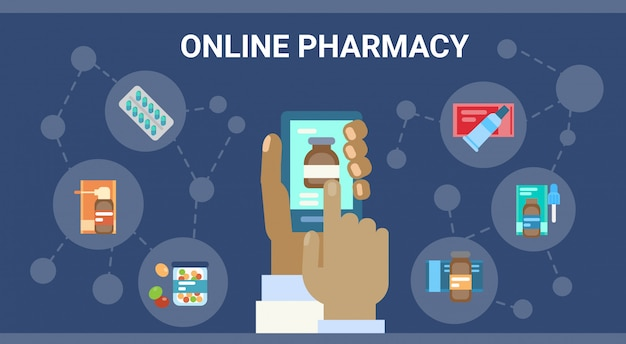 Pharmacy online medical consultation doctor health care clinics hospital service medicine network banner Premium Vector