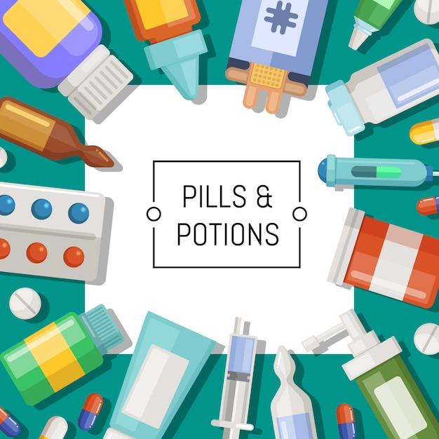 Аптека или лекарства с белым квадратом и место для иллюстрации текста Premium векторы