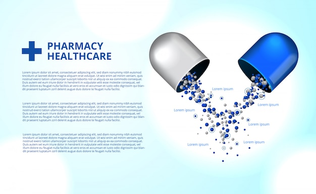 Pharmacy pills capsule medicine healthcare Premium Vector