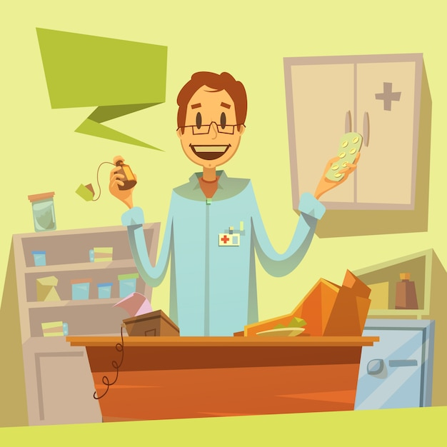 Pharmacy salesman background Free Vector
