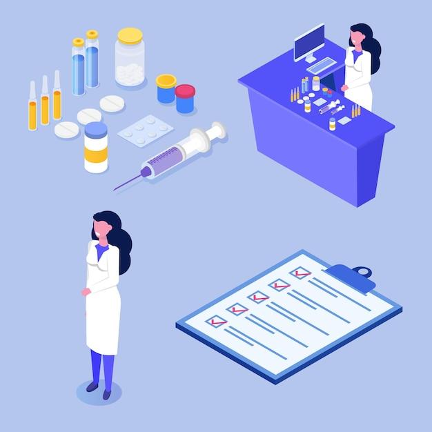 Изометрические концепция аптеки с иконой медицины. Premium векторы