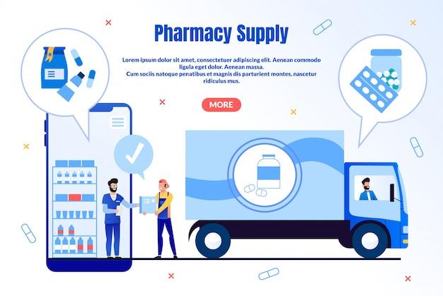 Pharmacy supply service flat landing page Premium Vector