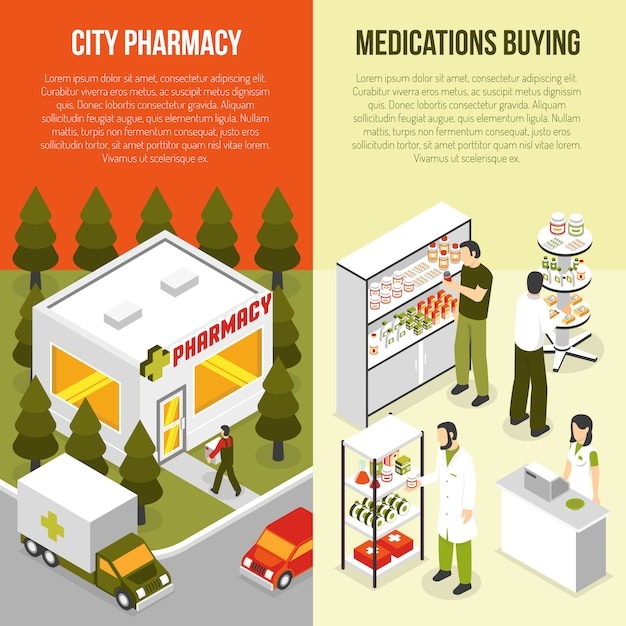 Pharmacy vertical isometric banners set Free Vector