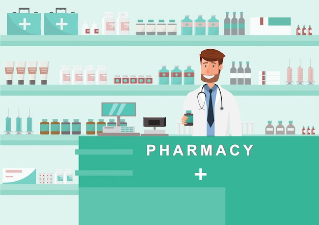 Pharmacy with doctor in counter. drugstore cartoon character design Premium Vector