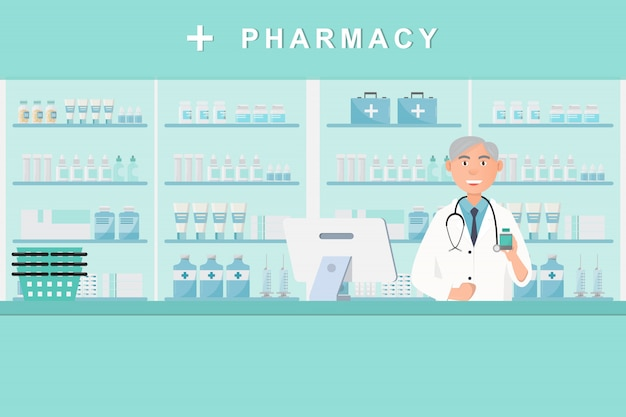 Pharmacy with doctor in counter Premium Vector