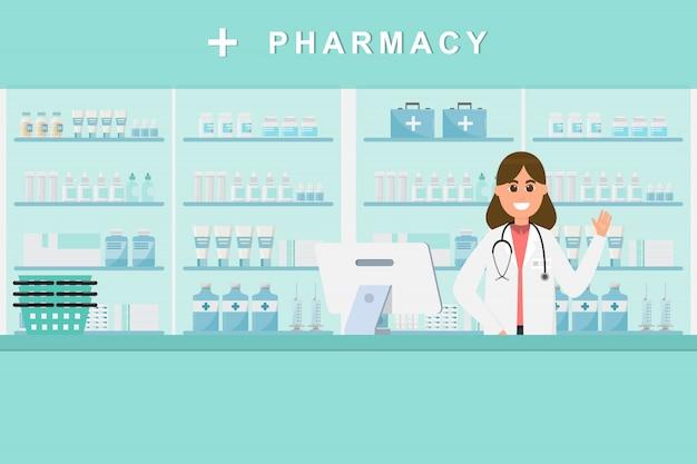 Pharmacy with nurse in counter Premium Vector