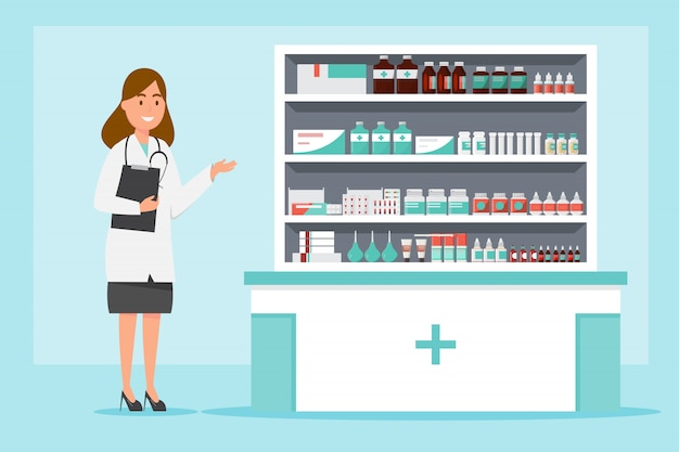 Pharmacy with pharmacist and client in counter Premium Vector