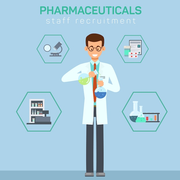 Pharmacy workers recruiting flat illustration Premium Vector