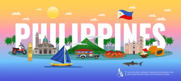 フィリピンの伝統的な食べ物とタイポグラフィの組成さまざまなランドマークとグラデーションの背景の水平方向の動物 無料ベクター