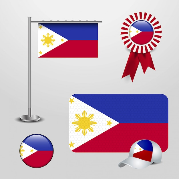 Phillipines flag with creative design vector Free Vector