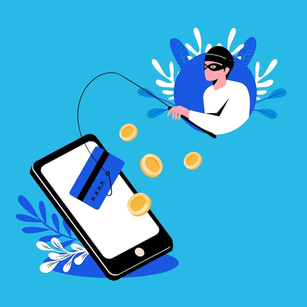 Phishing account concept with hacker and fishing rod Free Vector