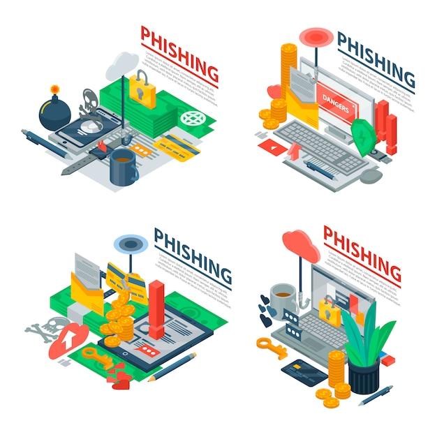 Phishing banner set. isometric set of phishing vector banner for web design Premium Vector
