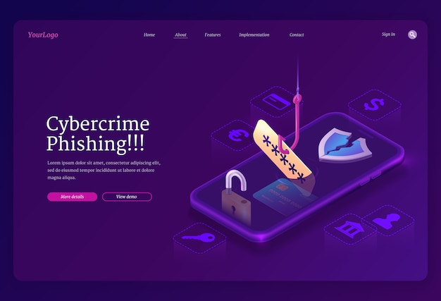 Phishing cybercrime isometric landing page. fishing hook catch account password from smartphone screen. scammer or fraud theft personal data in internet, hacking cyber crime, 3d web banner Free Vector