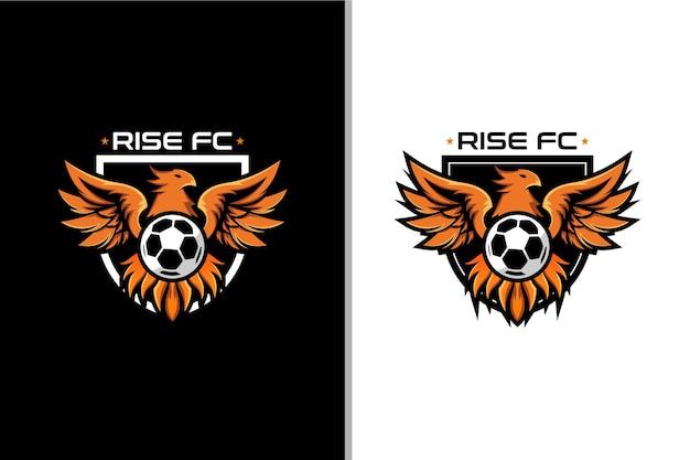 Phoenix and ball logo for badge football club Premium Vector
