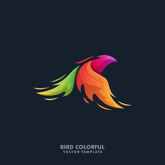 Phoenix bird colorful illustration vector template Premium Vector