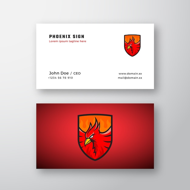 Phoenix emblem abstract vector logo and business card template Free Vector