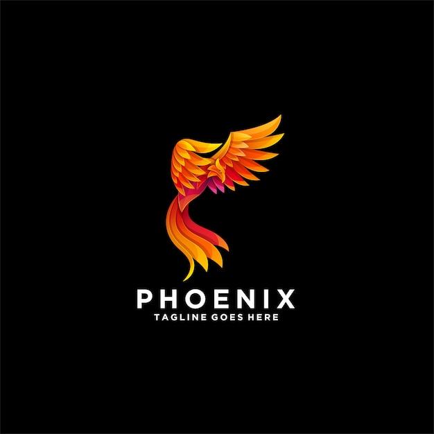 Phoenix gradient colorful logo. Premium Vector