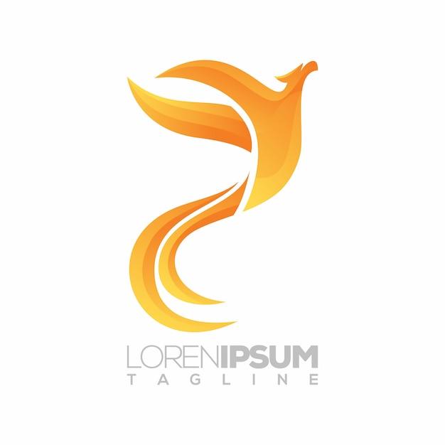 Phoenix logo, 3d, illustration Premium Vector