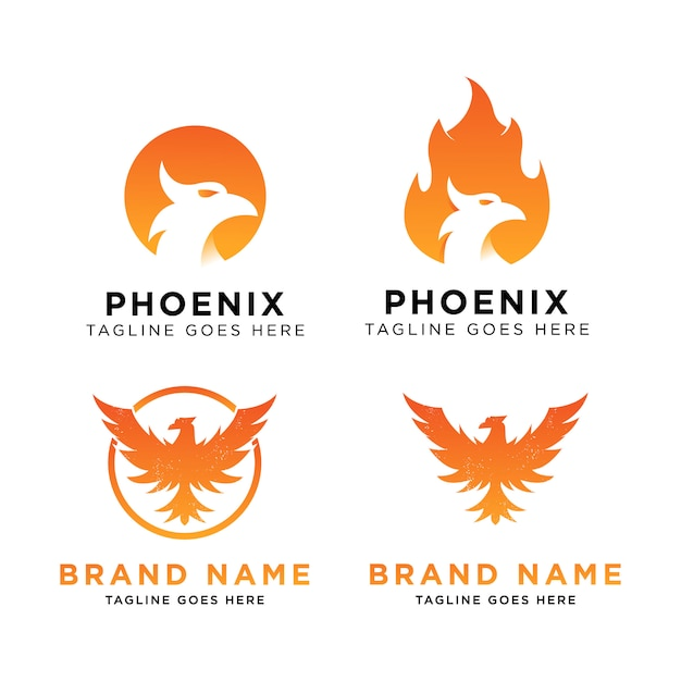 Phoenix logo set design inspiration Premium Vector