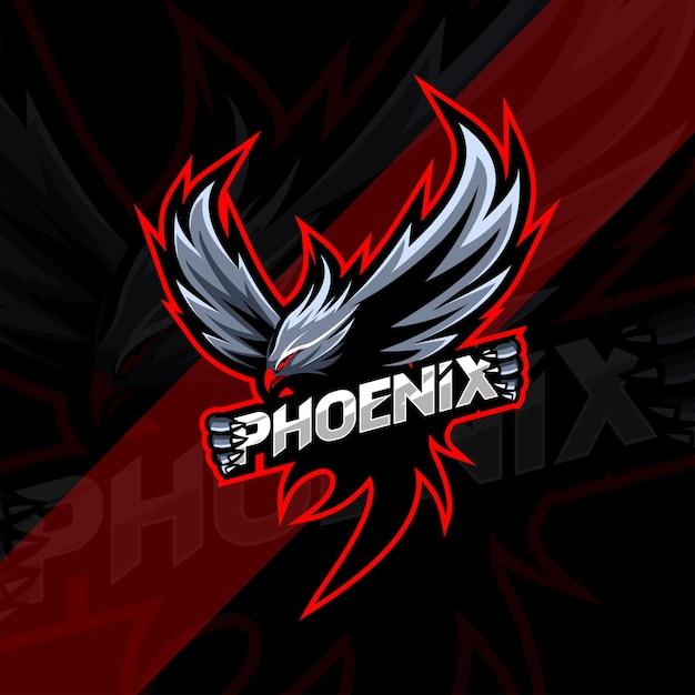 Логотип талисмана феникса киберспорт Premium векторы