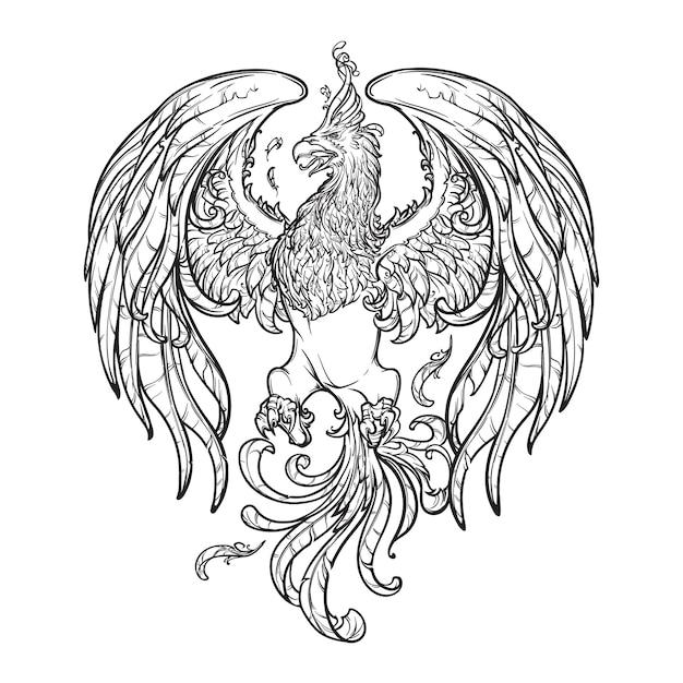 Феникс или волшебное существо феникс из древнегреческих мифов. Premium векторы