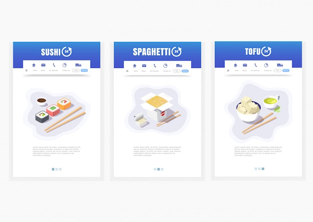 Phone app, asian food delivery service, sushi, spaghetti, tofu, 24 hours,   isometric food delivery graphics Premium Vector