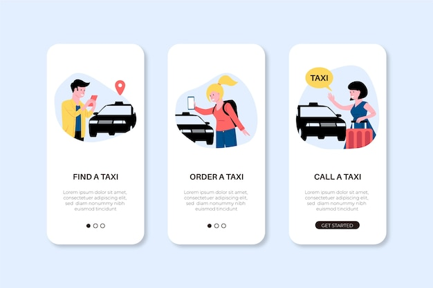 Phone app screens for taxi service Free Vector