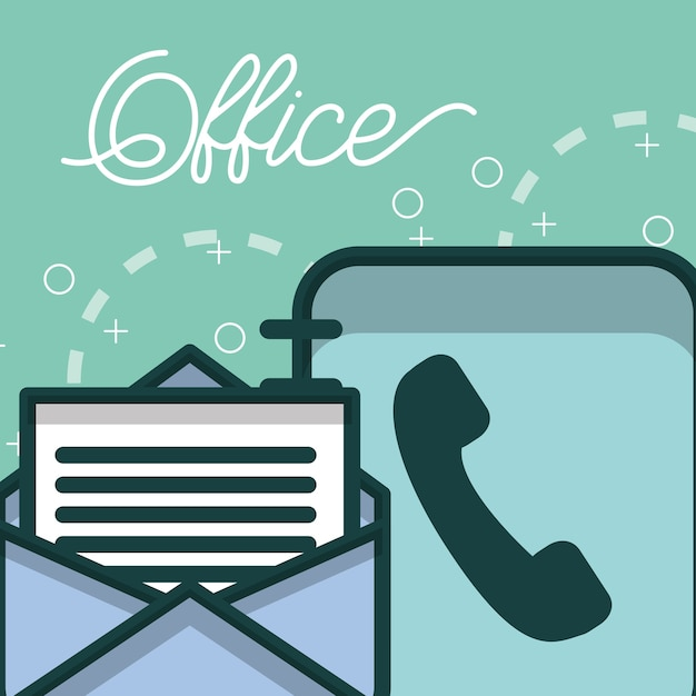 Phone book and email letter paper office Premium Vector